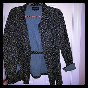 Forever 21 Leopard Print Military Jacket Size XL